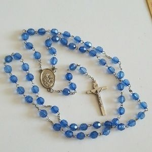Blue Faceted beads Rosary